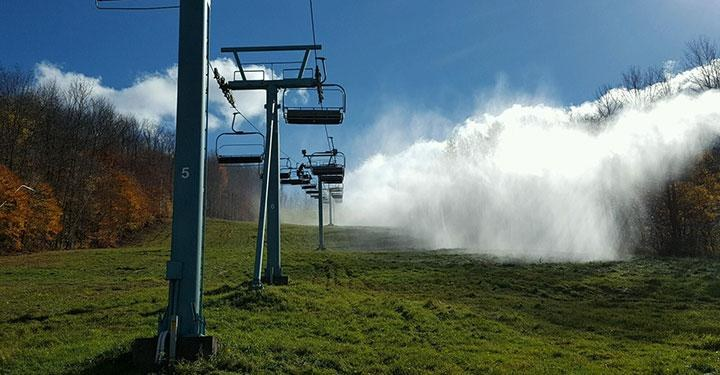 snowmaking startup on green grass