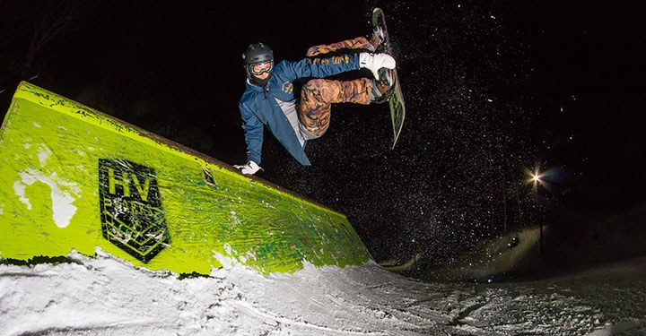Night skier in Terrain Park