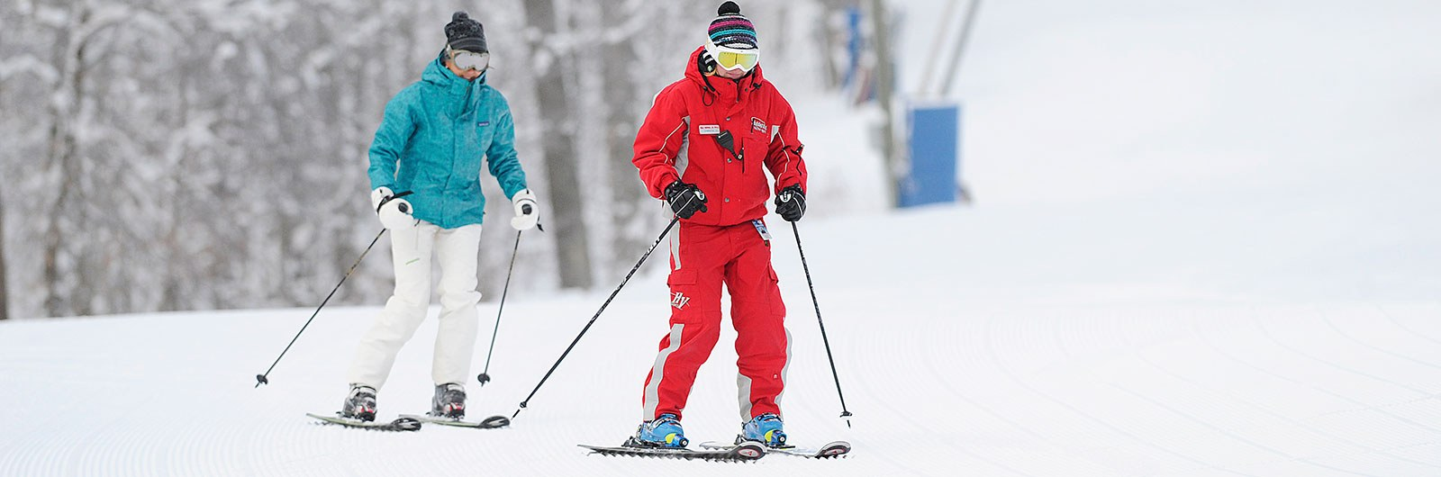 Instructor and student learning to ski