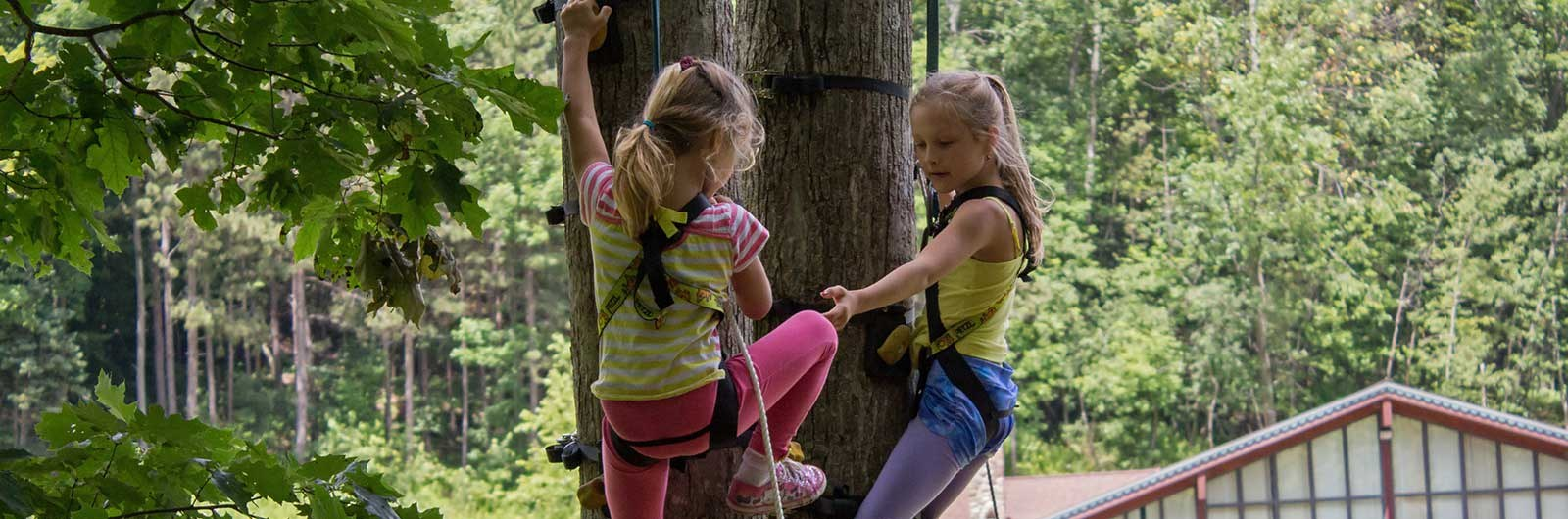 two young girls in the Climbing Forest