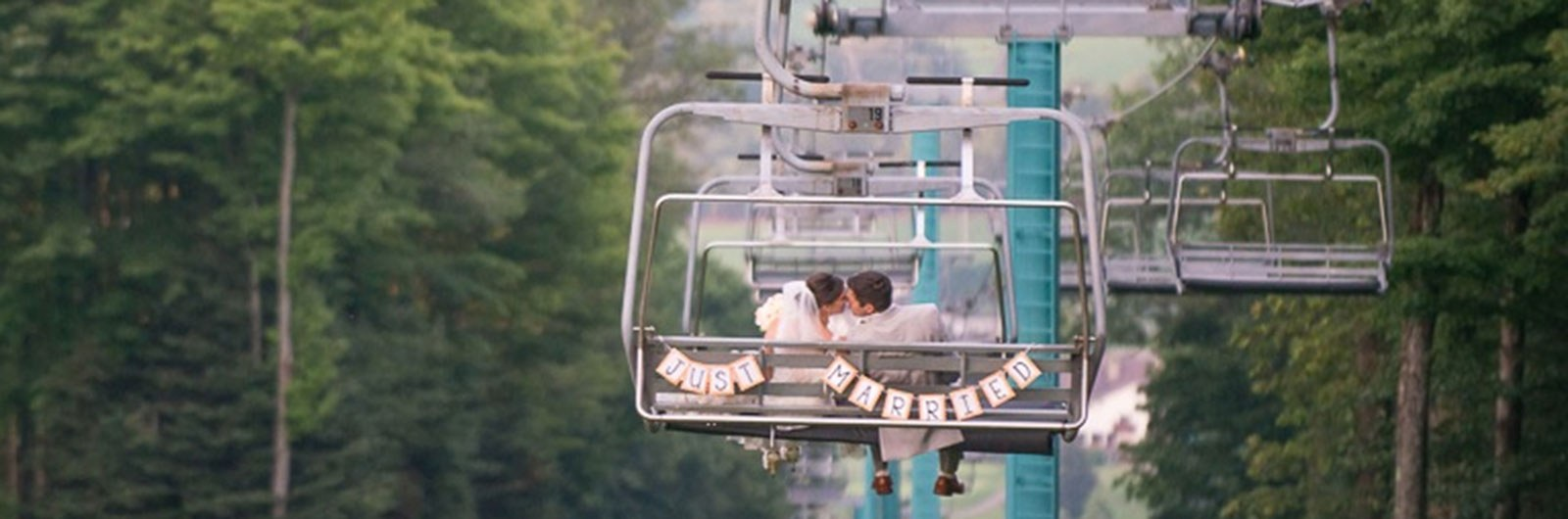 Just Married ride down the Chairlift