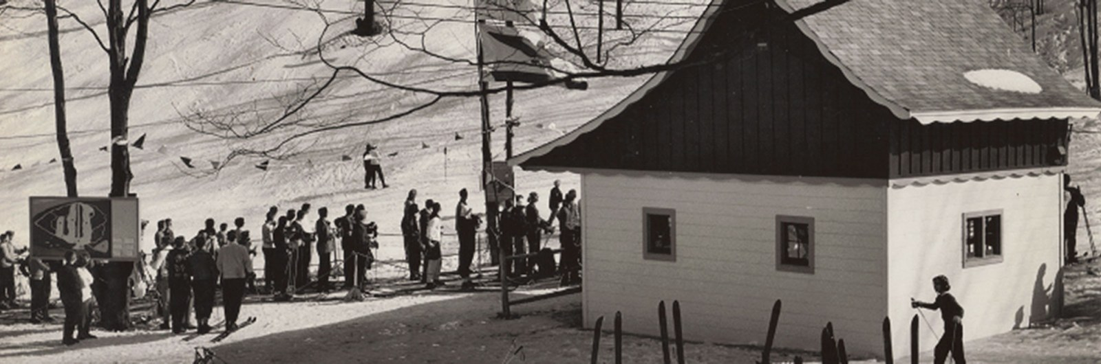 Historical photo of skiers at Holiday Valley mountain resort