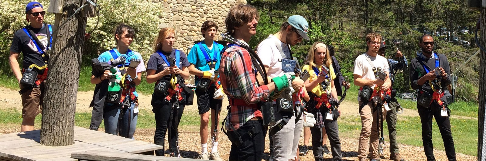 Group getting instructions at Holiday Valley's zipline adventure park in New York