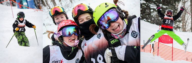 Young ski racers smiling
