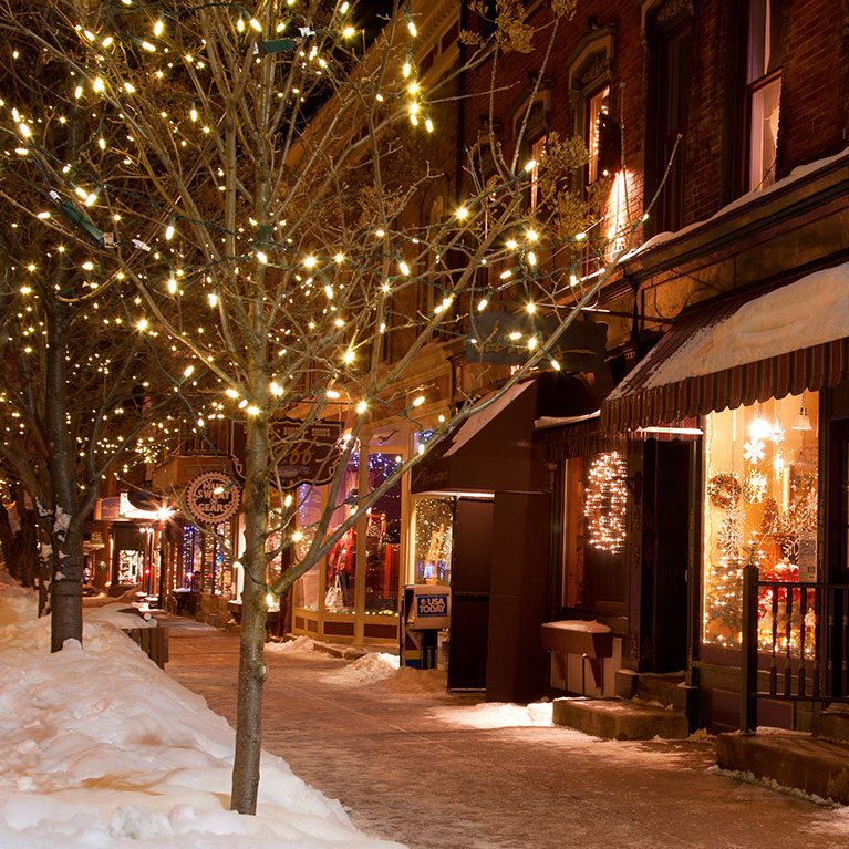 Ellicottville with Christmas lights