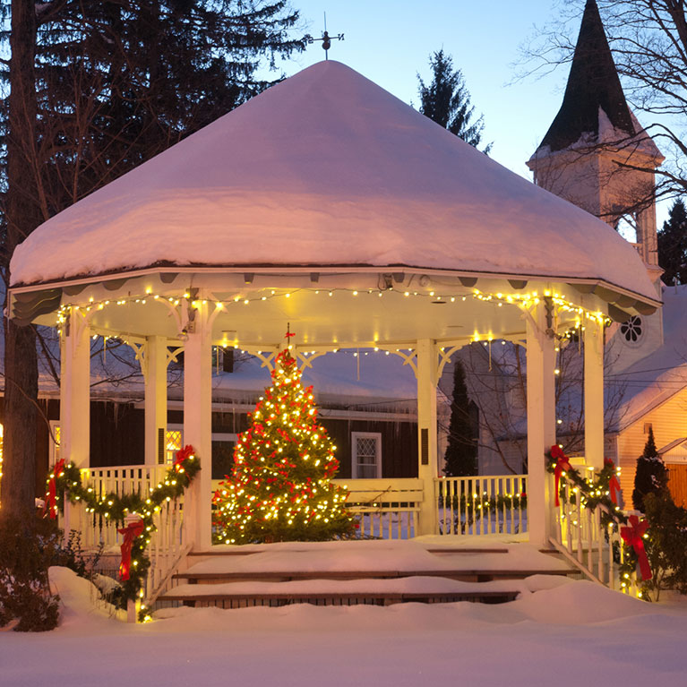 Ellicottville Gazebo in winter with lights