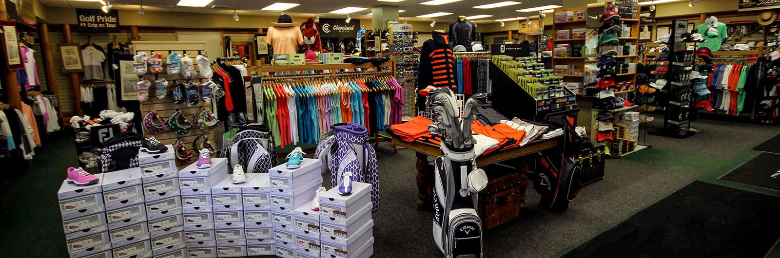 merchandise in the golf shop