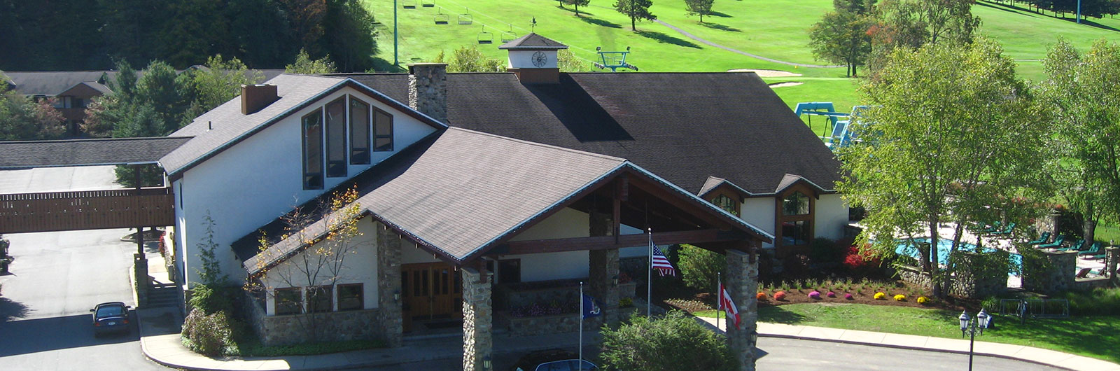 aerial view of Inn entrance in the summertime