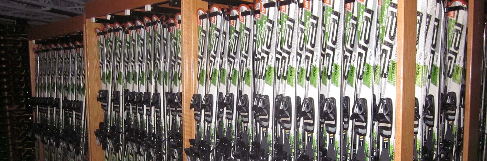 rack of Elan rental skis