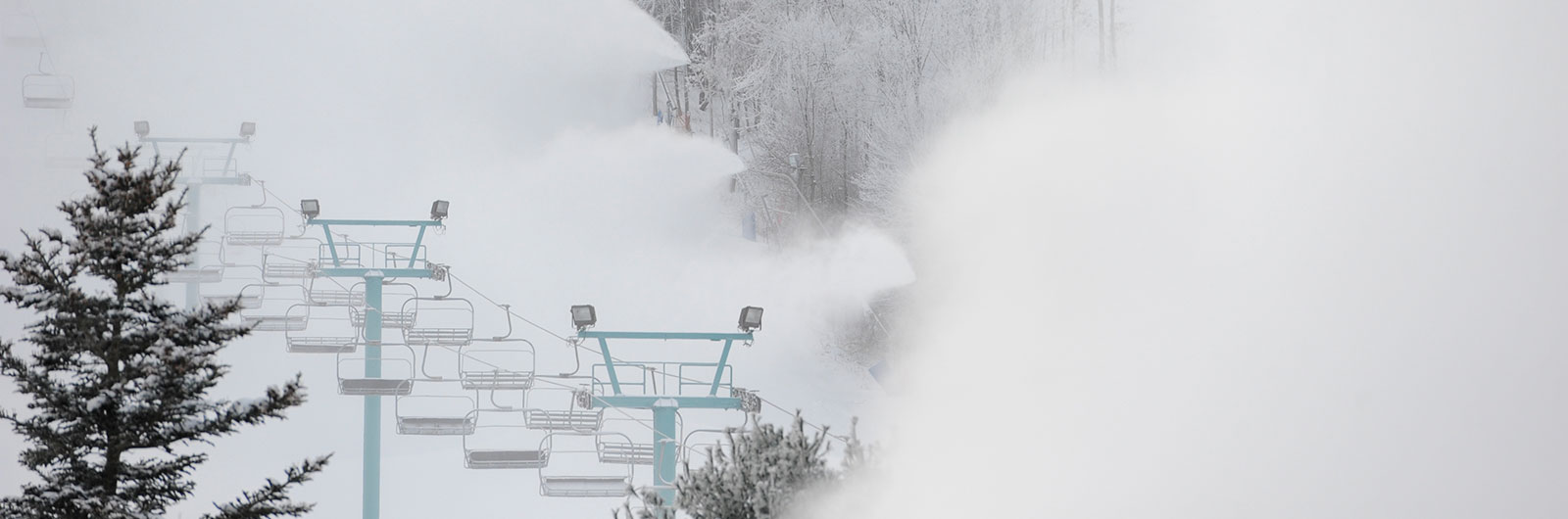 Cloud of snow from snowmaking