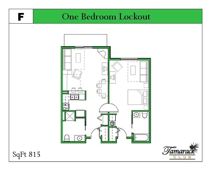 One bedroom lockout unit layout