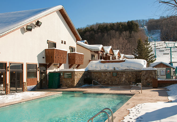 Inn at Holiday Valley Heated Outdoor Pool in Winter