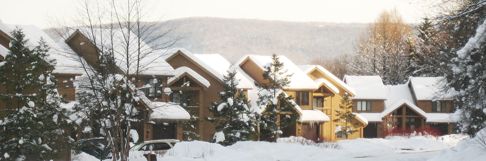 SnowPine Townhouses exterior in winter
