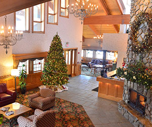 Inn lobby at Christmas