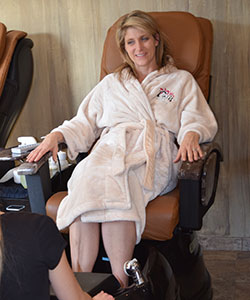 Woman in Pedicure Chair at spa