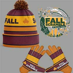 Fall Scramble hat and gloves