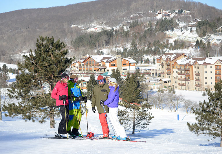 Skiers overlooking base area