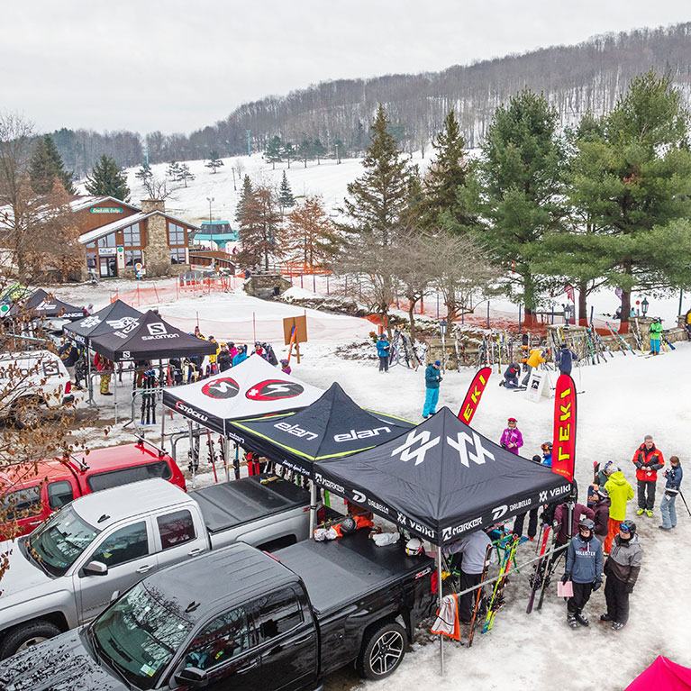 Tents set up for ski demo day at Holiday Valley