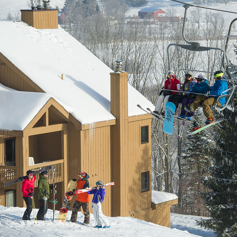 SnowPine Condos and lift